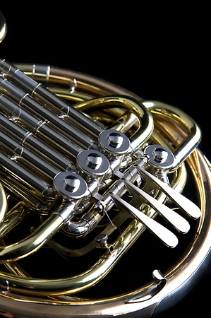 brass band: A gold brass French Horn isolated against a black background in the vertical format with copy space.