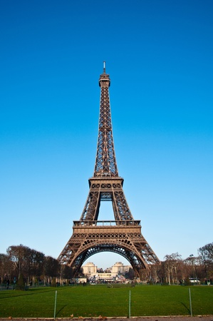 Eiffel Tower in Paris with grass photo