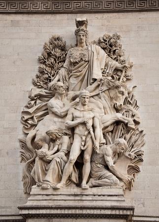 The detail of the Arc de Triomphe, paris, france photo