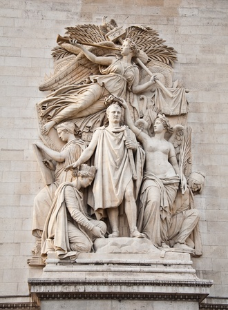 triomphe: The detail of the Arc de Triomphe, paris, france Stock Photo