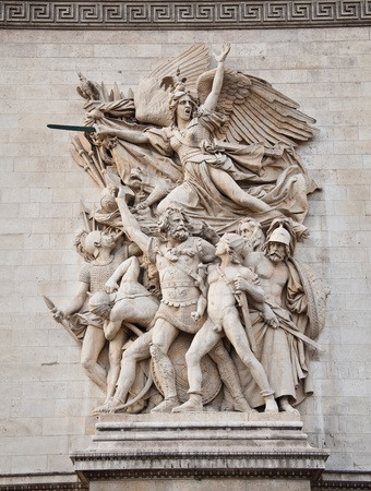 triomphe: The detail of the Arc de Triomphe, paris, france Stock Photo