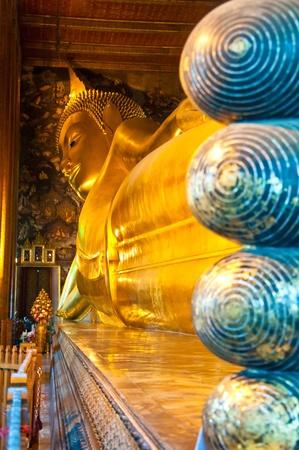 wat: Reclining Buddha statue in Thailand Buddha Temple Wat Pho