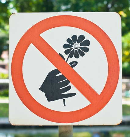 eco notice: Do not pick flowers sign Stock Photo