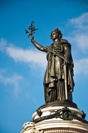 brandishing: The statue of Republic in Paris, France Stock Photo