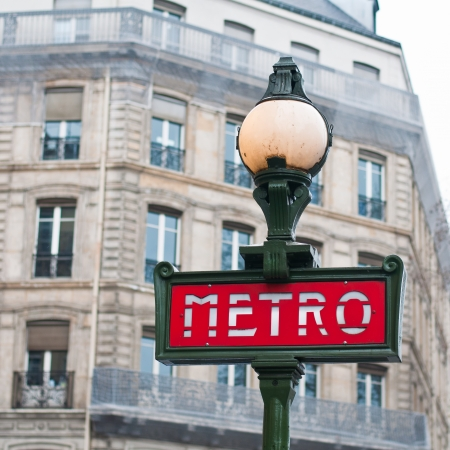 Metro sign for subway in Paris, France