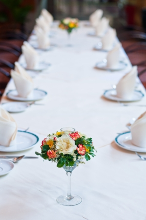 Set of table with flowers photo