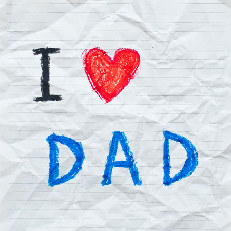 Drawing wording  I love Dad  on the crumpled paper photo