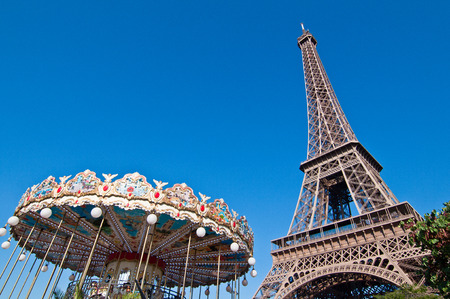The Eiffel tower with the Carousel in Paris, France photo