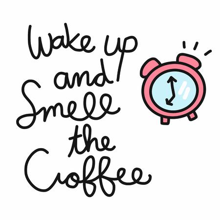 Wachen Sie auf und riechen Sie den Kaffeewort- und Weckervektorillustrations-Gekritzelstil Vektorgrafik