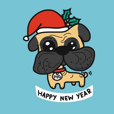 Pug dog wear Christmas santa hat cartoon vector illustration Illustration