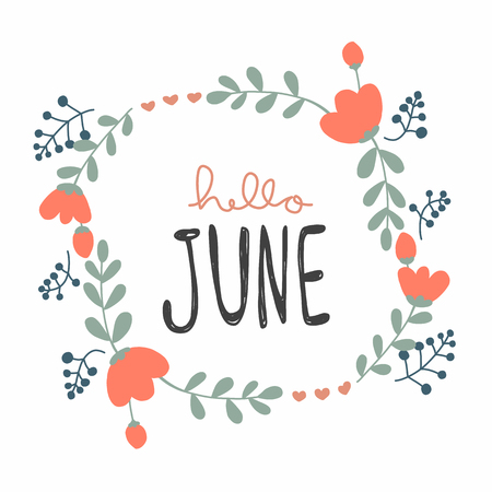 Hello June cute flower wreath vector illustration doodle style