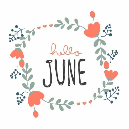 Hola junio lindo estilo de doodle de ilustración de vector de guirnalda de flores