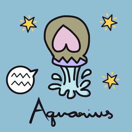Aquarius horoscope cartoon vector illustration doodle style