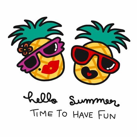 Pineapple couple hello summer cartoon vector illustration Stock Illustratie