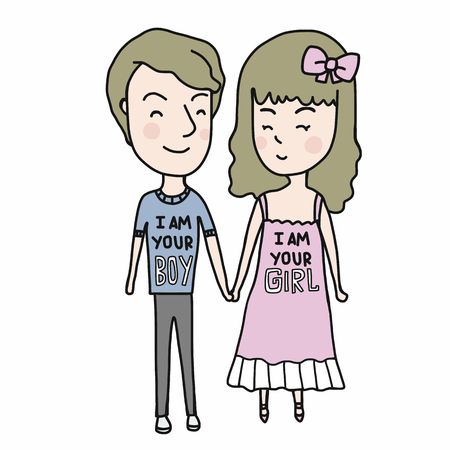 I am your boy , I am your girl couple cartoon vector illustration doodle style