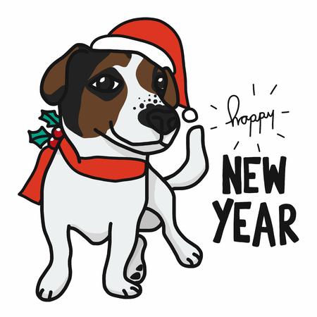 Jack Russell dog wear Christmas santa hat cartoon vector illustration