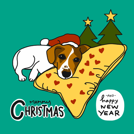 Jack Russell dog sleep on heart pillow Merry Christmas and Happy New Year cartoon vector illustration