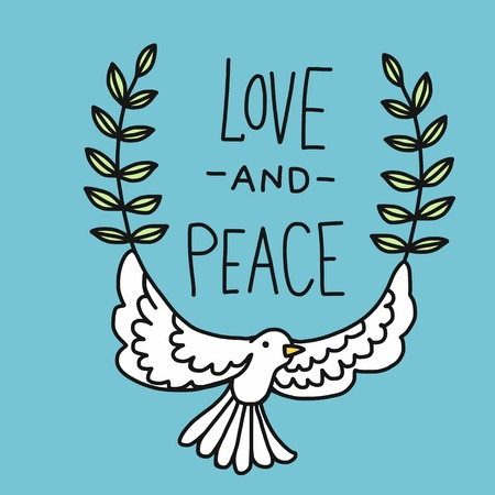 Love and Peace word and cute white pigeon cartoon vector illustration