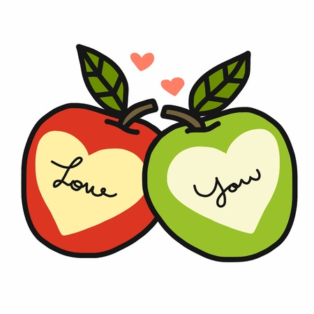 Love you word and heart red and green apple cartoon vector illustration