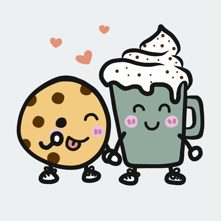 Coffee cup and Cookie cartoon vector illustration doodle style
