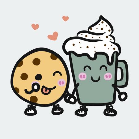 Ilustración de vector de dibujos animados de taza de café y galleta estilo doodle