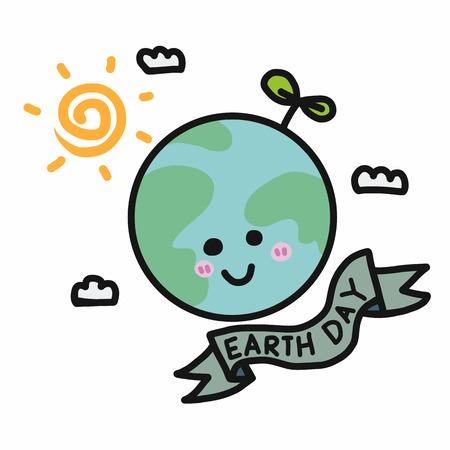 Earth day cartoon vector illustration doodle style 일러스트