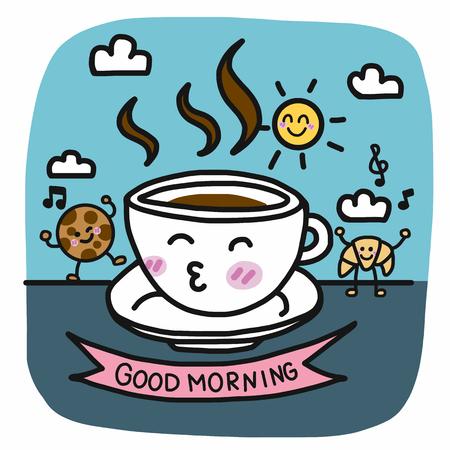 Bonjour tasse à café et petit-déjeuner ami dessin animé vector illustration style doodle