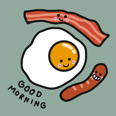 Good morning egg, bacon and sausage cartoon vector illustration doodle style