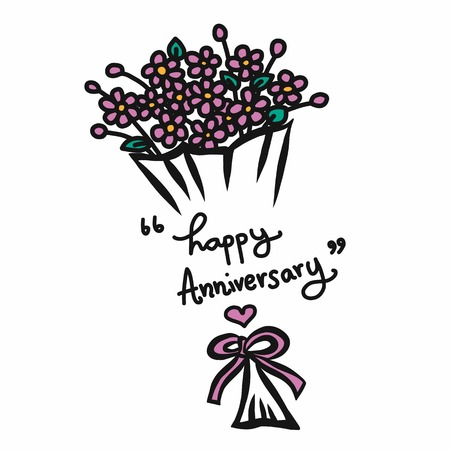 Happy anniversary word and flower bouquet cartoon vector illustration