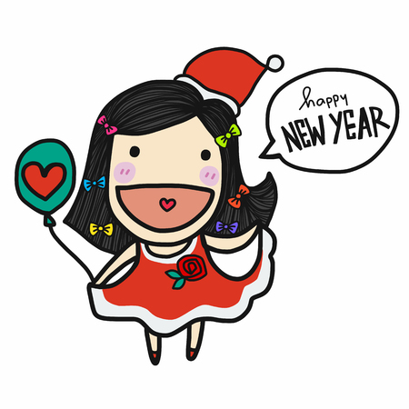 Cute Santa Claus girl say Happy New Year cartoon vector doodle style Stock Illustratie