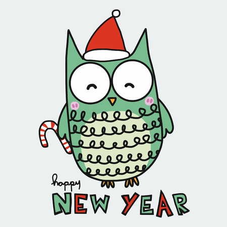 Cute owl and red Santa hat happy new year cartoon vector illustration doodle style