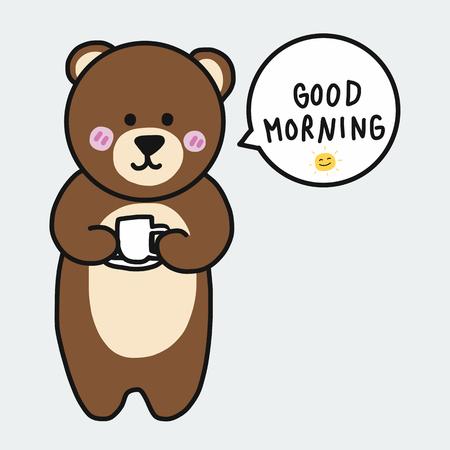 Bruine beer met koffiekopje en zeg goedemorgen cartoon afbeelding