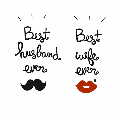 Best husband and wife ever word lettering vector illustration
