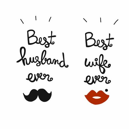 Najlepszy mąż i żona kiedykolwiek słowo napis ilustracji wektorowych Ilustracje wektorowe