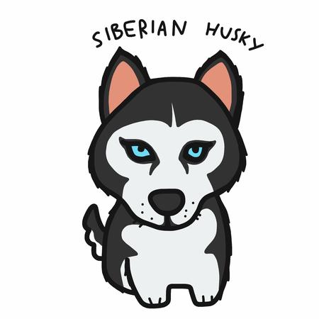 Siberian Husky dog cartoon vector illustration