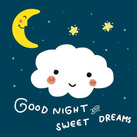 Good night and sweet dreams cloud cartoon vector doodle illustration