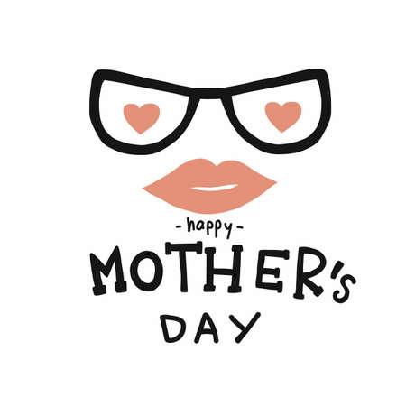Happy Mother's day word hat and mustache vector illustration Vektorgrafik