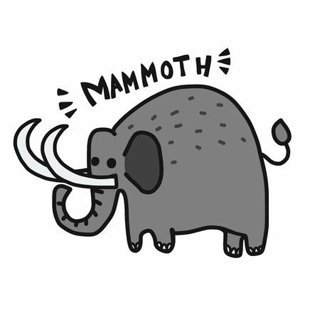 Mammoth cartoon vector illustration doodle style