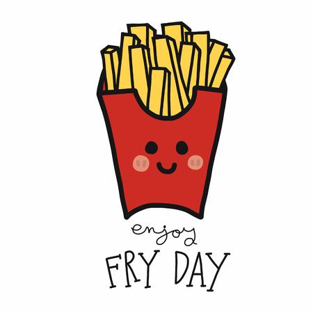 Disfrute del estilo de doodle de ilustración de vector de dibujos animados de papas fritas día de freír