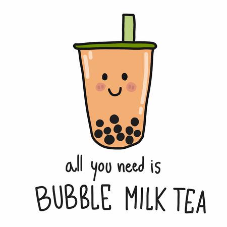Tutto ciò di cui hai bisogno è lo stile di doodle dell'illustrazione di vettore del fumetto del tè al latte della bolla Vettoriali