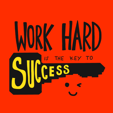 Work hard is the key to success vector illustration Ilustração