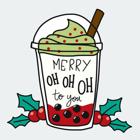 Merry Oh Oh Oh to you word and smoothie cup cartoon doodle style vector illustration  イラスト・ベクター素材