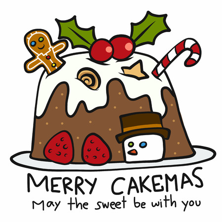 Merry Cakemas May the sweet be with you cute cartoon doodle style vector illustration  イラスト・ベクター素材