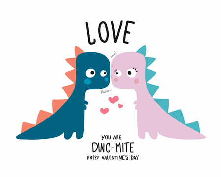 Dinosaur couple lover happy valentines day cartoon doodle vector illustration