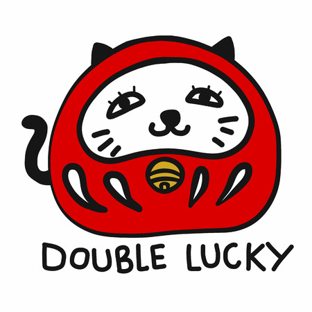 Daruma mixing with Lucky cat (Japanese lucky charm) cartoon vector illustration doodle style