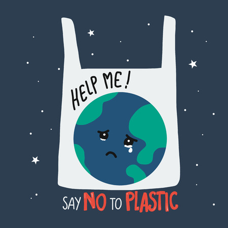 Earth crying in plastic bag cartoon, say no to plastic concept vector illustration