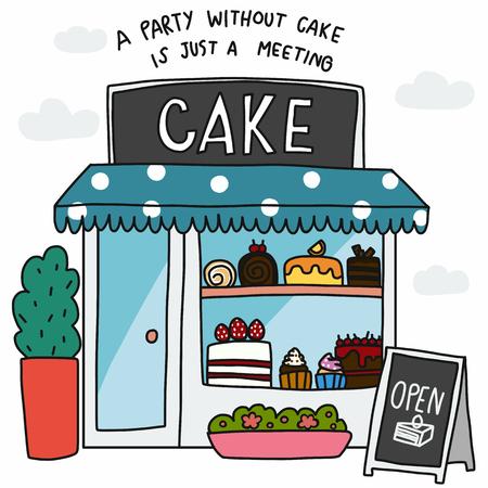 Tienda de pasteles una fiesta sin pastel es solo una ilustración de vector de dibujos animados de reunión