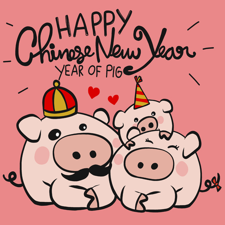 Happy Chinese New Year, Year of pig family cartoon vector doodle style illustration