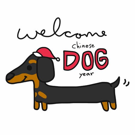 Welcome Chinese dog year and dachshund cartoon vector illustration