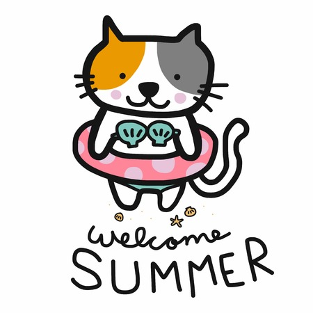 Welcome summer cute cat were bikini and swim ring cartoon vector illustration doodle style